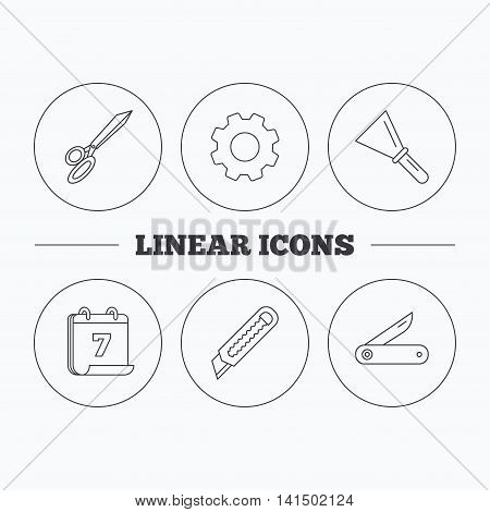 Paper knife, spatula and scissors icons. Multi-tool knife linear sign. Flat cogwheel and calendar symbols. Linear icons in circle buttons. Vector