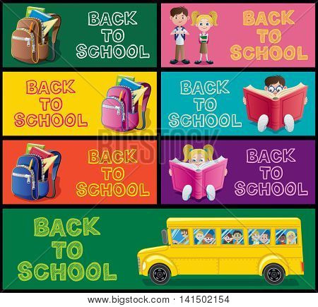 Set of cartoon banners for school and education.