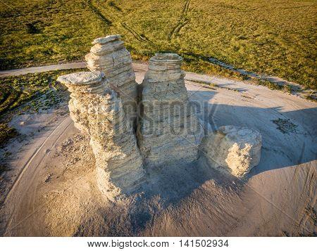 Castle Rock - limestone pillar landmark in prairie of western Kansas near Quinter (Gove County) - aerial view