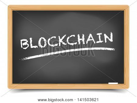 detailed illustration of a blackboard with Blockchain text, eps10 vector, gradient mesh included