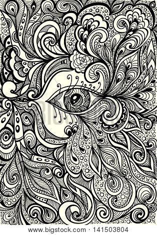 Abstract Background   with eye in  Zen-doodle  or  Zen-tangle  style black on white for coloring page or relax coloring book or wallpaper or for decorate package clothes