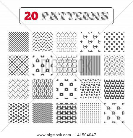 Ornament patterns, diagonal stripes and stars. Login and Logout icons. Sign in or Sign out symbols. Lock icon. Geometric textures. Vector