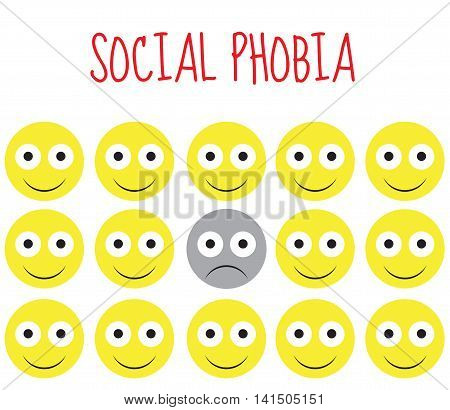 social phobia smiley vector fear and depression. Vector illustration