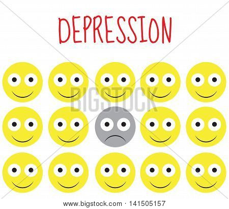 Smiley vector depression sadness emotions. Vector illustration