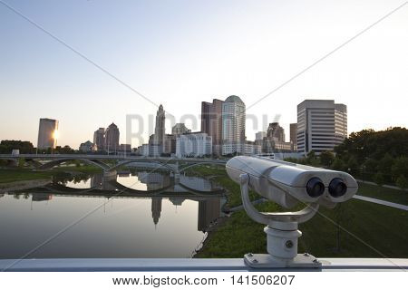 Take in the view of Columbus, Ohio at sunrise