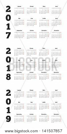 Set of simple calendars in french on 2017, 2018, 2019 years isolated on white