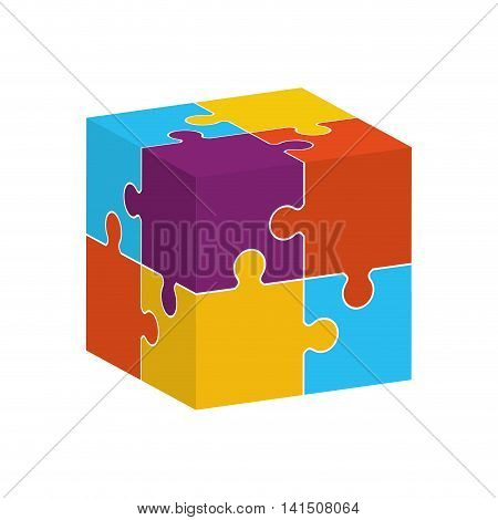 puzzle cube jigsaw game figure icon. Isolated and flat illustration. Vector graphic