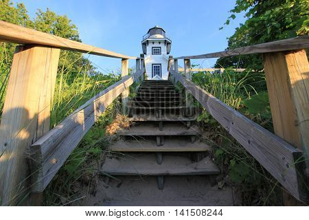 Uneven wooden steps at the lighthouse located at the end of Old Mission Peninsula near Traverse City, MI