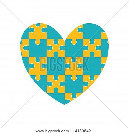 puzzle heart jigsaw game figure icon. Isolated and flat illustration. Vector graphic