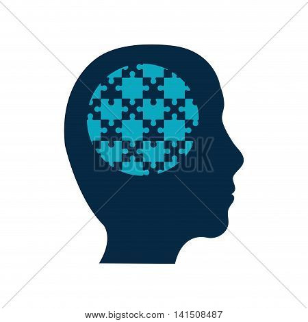puzzle head jigsaw game figure icon. Isolated and flat illustration. Vector graphic