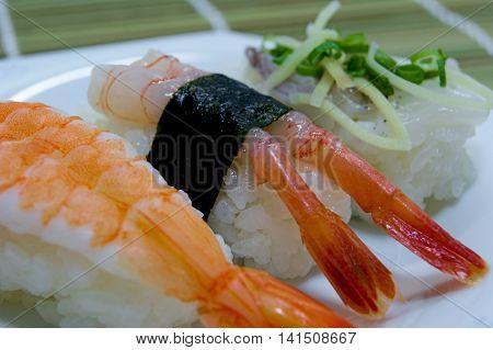 Nigiri sushi is a traditional food of Japan.
