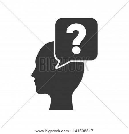head man question mark ask symbol problem icon. Isolated and flat illustration. Vector graphic