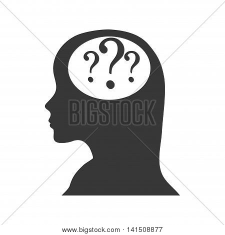 head woman question mark ask symbol problem icon. Isolated and flat illustration. Vector graphic