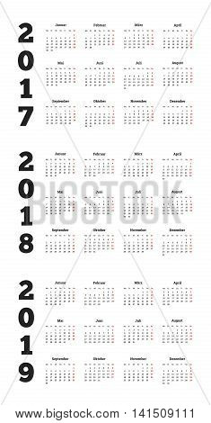Set of simple calendars in german on 2017, 2018, 2019 years isolated on white