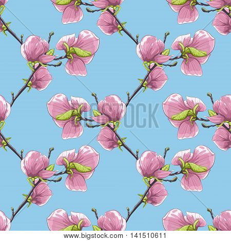 Beautiful seamless background with blooming magnolia tree branches.. Hand-drawn with effect of drawing in watercolor. Perfect for background greeting cards and invitations to the wedding birthday