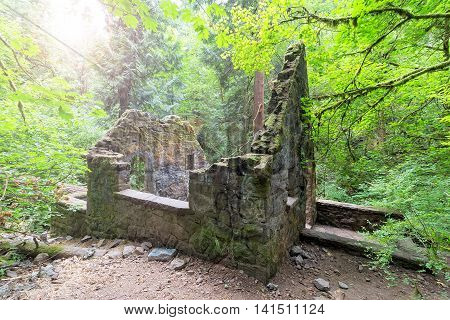 Abandoned stone castle house in bathed morning sun light at Wildwood Trail in Forest Park Portland Oregon