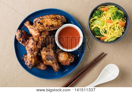 Roasted Honey Soy Chicken Wings With Spice Chillies Sauce