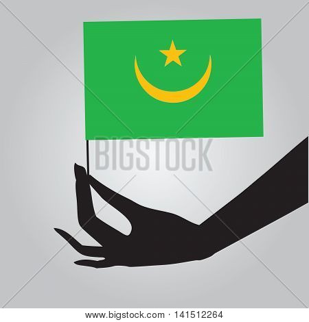 Flag of Mauritania in a female hand. Vector illustration.