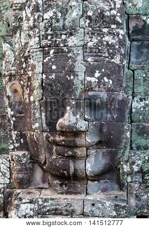 Stone Face In Ancient Bayon Temple