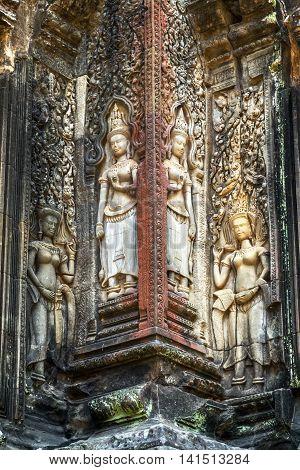 Angkor Wat, Apsara Dancing Stone Carving, Asia. Siem Reap, Cambodia.