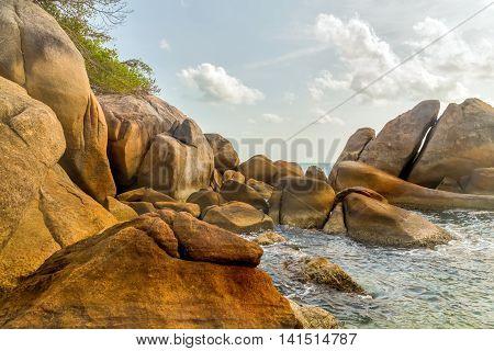 rock coastline sea summer nature landscape, summer vacation