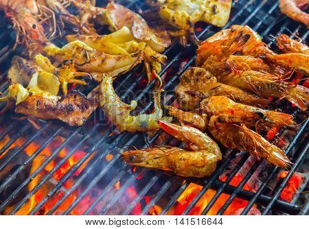 Shrimp, Prawn Seafood In Bbq Flames