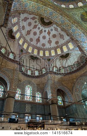 ISTANBUL TURKEY - MAY 1 2014: Interior of the famous Blue Mosque. Sultanahmet Mosque in Istanbul Turkey