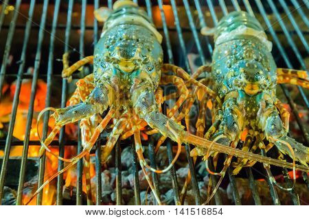Lobster Seafood In Bbq Flames