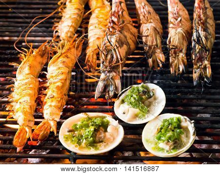 Grill Cooking Seafood.