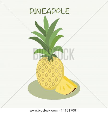 Pineapple icon in flat style Isolated object on white background. Pineapple logo- Vector illustration