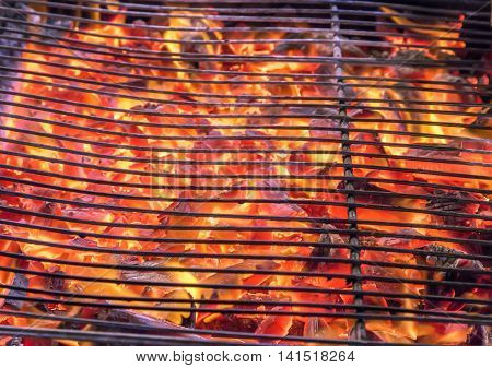 Empty Flaming Charcoal Grill With Flames Of Fire