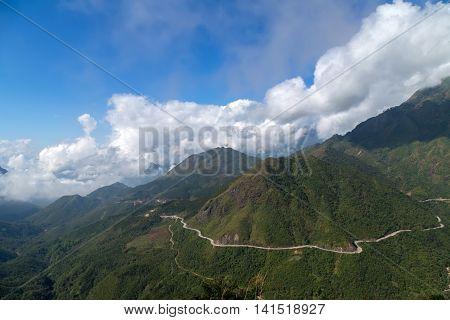 asphalt road hill landscapes Lao Cai province Sapa Viet Nam Northwest Vietnam.