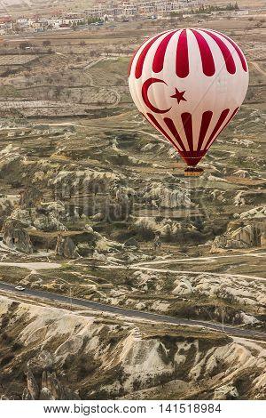 Hot Air Balloon Is Flying In Cappadocia