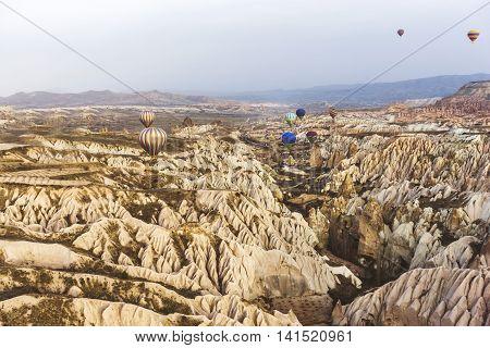 Medium Group Of Hot Air Balloons Are Flying On Cappadocia