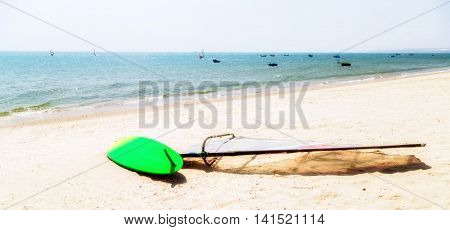 Surfing In Sea Beach At Summer