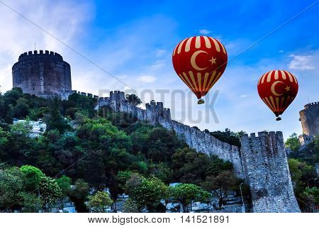 Hot Air Balloon Flying Old Fortress