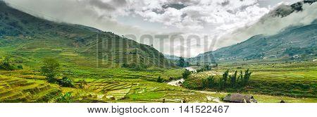 Landscape Mountain Village Vietnam
