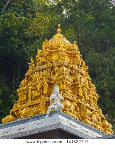 Golden Roof On Indian Temple In Batu Caves, Kuala Lumpur