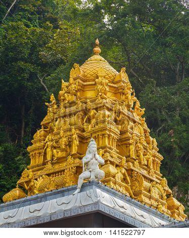 Golden Roof On Indian Temple In Batu Caves, Kuala Lumpur