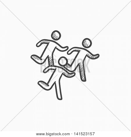 Running men vector sketch icon isolated on background. Hand drawn Running men icon. Running men sketch icon for infographic, website or app.