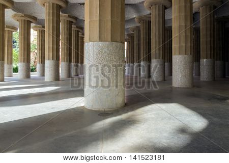 Barcelona Spain By Famous One Hundred Pillars Park Guell