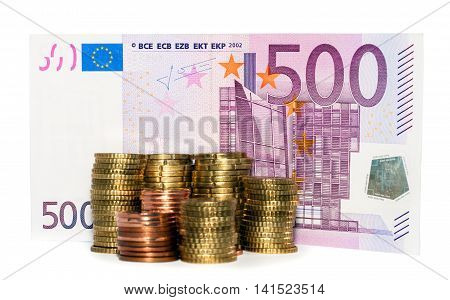 Euro Banknote And Euro Coins