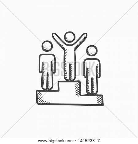 Winners on podium vector sketch icon isolated on background. Hand drawn Winners on podium icon. Winners on podium sketch icon for infographic, website or app.