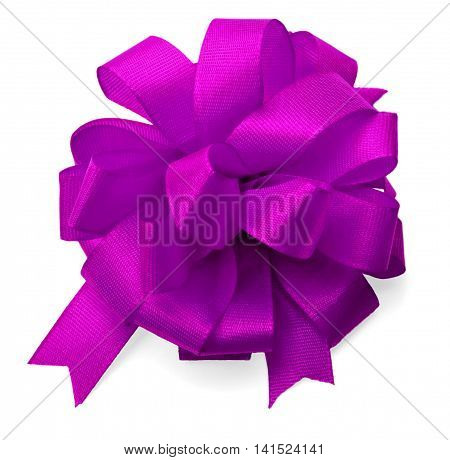 silk pink bow isolated on white background.