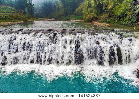Spring Waterfall Tien Sa Falls In Sapa Vietnam