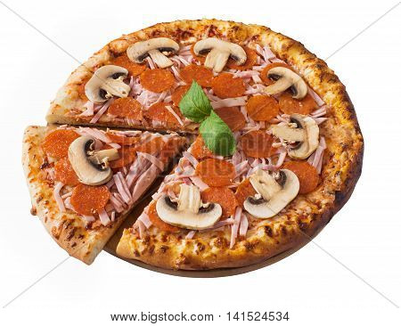 Tasty pizza with pepperoni ham and mushrooms isolated on white