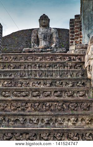 Ancient Buddhism Ruins In Polonnaruwa City Temple Unesco