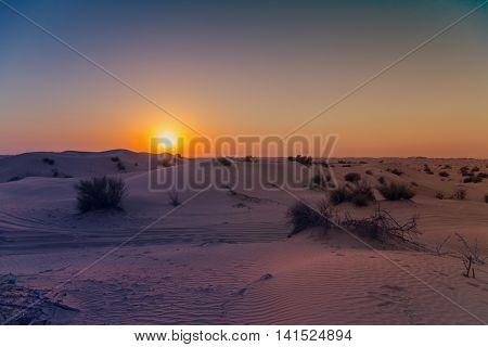 Desert Sand Landscape With Blue Sky Dunes Background.