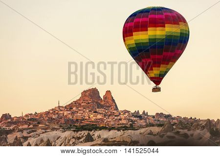 Hot Air Balloon Is Soaring Over Uchisar, Cappadocia