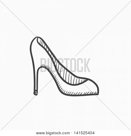 Heel shoe vector sketch icon isolated on background. Hand drawn Heel shoe icon. Heel shoe sketch icon for infographic, website or app.